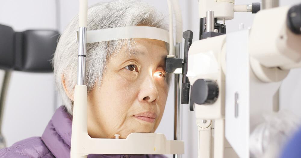 Older woman having an eye exam